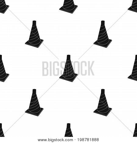Traffic cone icon in black design isolated on white background. Architect symbol stock vector illustration.