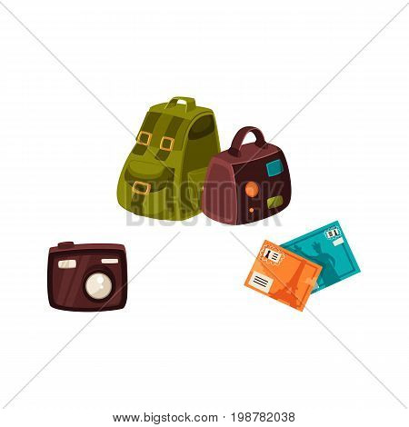 Travel bag, backpack, compact digital camera and travel postcards, vacation elements, cartoon vector illustration isolated on white background. Travel bags, tourist digital camera, vacation postcards