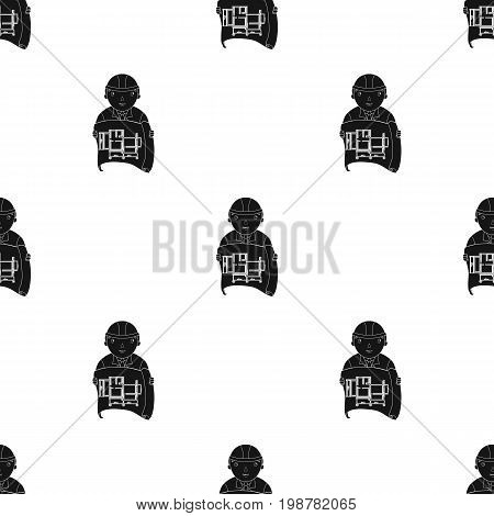 Architect with technical drawing icon in black design isolated on white background. Architect symbol stock vector illustration.