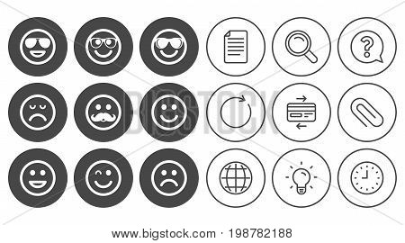 Smile icons. Happy, sad and wink faces signs. Sunglasses, mustache and laughing lol smiley symbols. Document, Globe and Clock line signs. Lamp, Magnifier and Paper clip icons. Vector