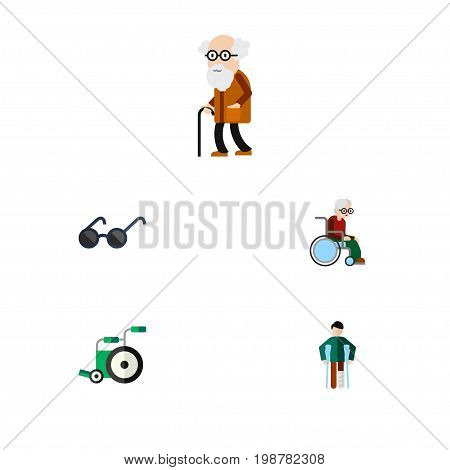 Flat Icon Handicapped Set Of Wheelchair, Ancestor, Spectacles And Other Vector Objects