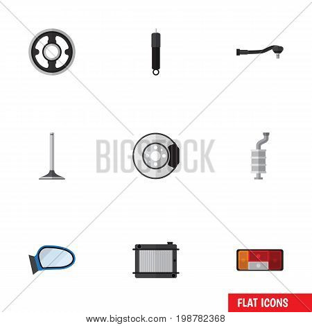 Flat Icon Auto Set Of Headlight, Metal, Car Segment And Other Vector Objects