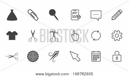 Tailor, sewing and embroidery icons. Scissors, safety pin and needle signs. Shirt and dress symbols. Chat, Report and Calendar line signs. Service, Pencil and Locker icons. Click, Rotation and Cursor