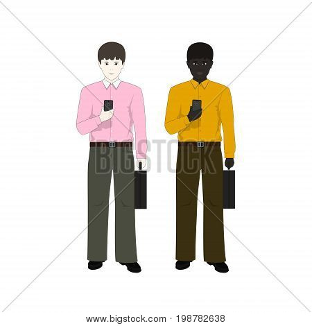 European and an African American Man with a Phone and a BriefcaseTwo Businessmen European Man in a Pink Shirt and an African American in a Yellow Shirt Vector Illustration
