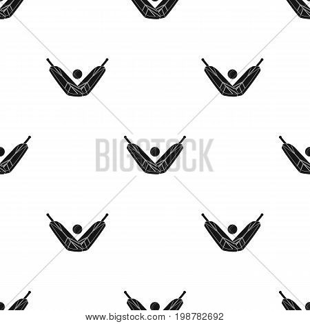 Crossed cricket bats with ball icon in black design isolated on white background. Australia symbol stock vector illustration.