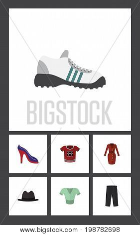 Flat Icon Garment Set Of Clothes, T-Shirt, Sneakers And Other Vector Objects