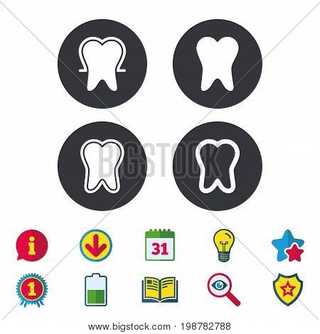 Tooth enamel protection icons. Dental toothpaste care signs. Healthy teeth sign. Calendar, Information and Download signs. Stars, Award and Book icons. Light bulb, Shield and Search. Vector