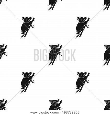 Australian koala icon in black design isolated on white background. Australia symbol stock vector illustration.