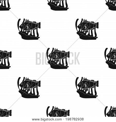 Clownfish and anemone icon in black design isolated on white background. Australia symbol stock vector illustration.