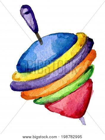 watercolor sketch of toy spinning top isolated on white background
