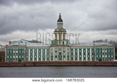 Kunstkamera Museum building on the University embankment of the Neva river. Museum of anthropology and Ethnography named after Peter the Great Russian Academy of Sciences -- the first Museum of Russia St. Petersburg