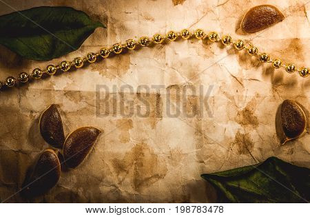 Background with old paper, seeds, leaves and thread golden beads.