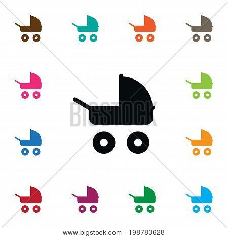 Transportation Vector Element Can Be Used For Baby, Stroller, Transportation Design Concept.  Isolated Stroller Icon.