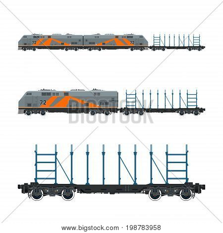 Orange Locomotive with Railway Platform for Timber Transportation Or other Cargoes Train Railway and Cargo Transport Vector Illustration