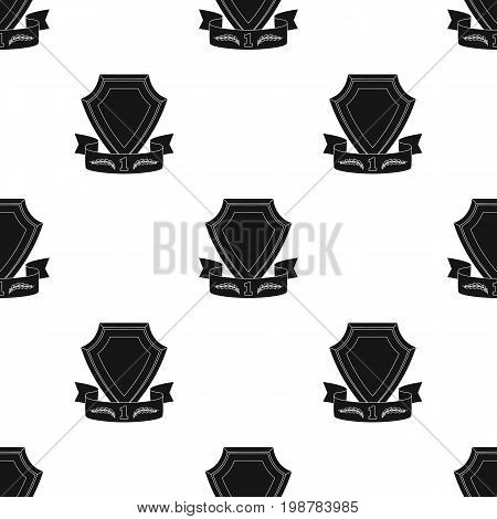 Golden award with red ribbon.The medal of valor.Awards and trophies single icon in black style vector symbol stock web illustration.
