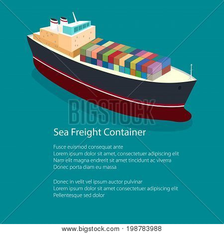 Flyer Isometric Container Ship on the Water and Text a Top View of a Cargo Ship with Containers on Board in the Ocean Poster Brochure Design Vector Illustration