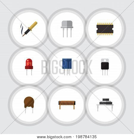 Flat Icon Electronics Set Of Bobbin, Receptacle, Recipient And Other Vector Objects