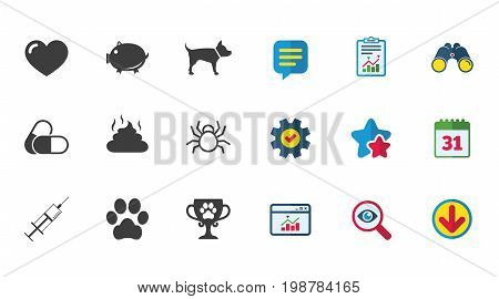 Veterinary, pets icons. Dog paw, syringe and winner cup signs. Pills, heart and feces symbols. Calendar, Report and Download signs. Stars, Service and Search icons. Statistics, Binoculars and Chat