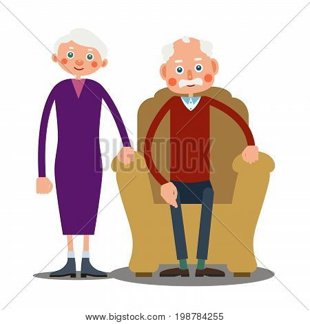 An elderly man is sitting in a large armchair and next to him stands an elderly woman. Illustration in flat style. Isolated..