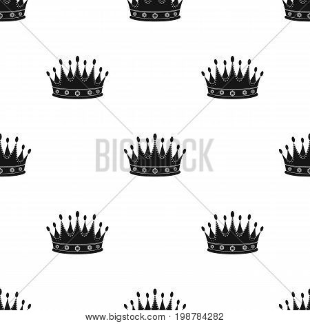 Golden crown with diamonds the winner of the beauty contest.Awards and trophies single icon in black style vector symbol stock web illustration.