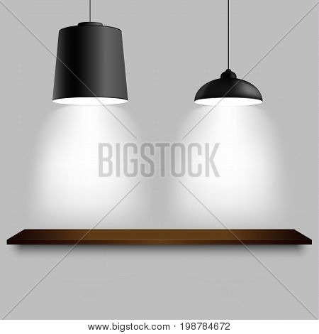 Black ceiling two different lamps with shelf template vector eps 10
