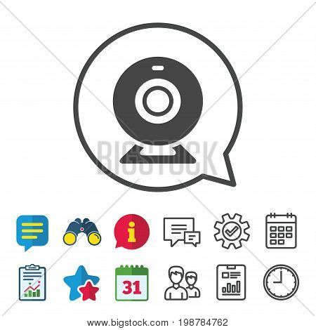 Webcam sign icon. Web video chat symbol. Camera chat. Information, Report and Calendar signs. Group, Service and Chat line icons. Vector