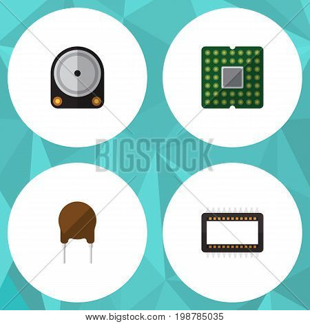 Flat Icon Device Set Of Mainframe, Triode, Unit And Other Vector Objects