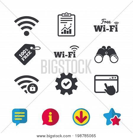 Free Wifi Wireless Network icons. Wi-fi zone locked symbols. Password protected Wi-fi sign. Browser window, Report and Service signs. Binoculars, Information and Download icons. Stars and Chat. Vector