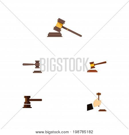 Flat Icon Court Set Of Legal, Court, Law And Other Vector Objects