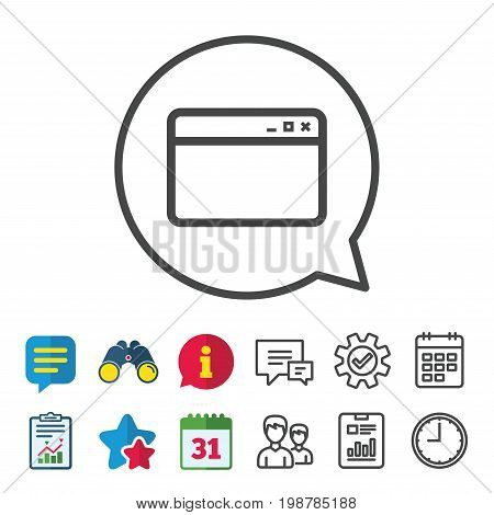 Browser window icon. Internet page symbol. Website empty template sign. Information, Report and Calendar signs. Group, Service and Chat line icons. Vector
