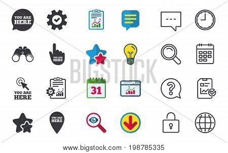 You are here icons. Info speech bubble symbol. Map pointer with your location sign. Hand cursor. Chat, Report and Calendar signs. Stars, Statistics and Download icons. Question, Clock and Globe