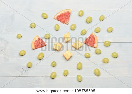 Delicious Snack With Cheese And Summer Fruit, Top View