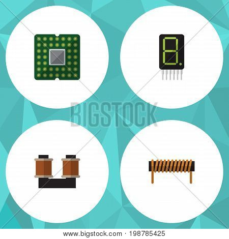 Flat Icon Device Set Of Bobbin, Unit, Coil Copper And Other Vector Objects