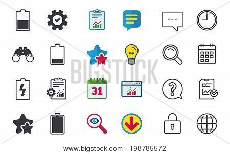Battery charging icons. Electricity signs symbols. Charge levels: full, half and low. Chat, Report and Calendar signs. Stars, Statistics and Download icons. Question, Clock and Globe. Vector