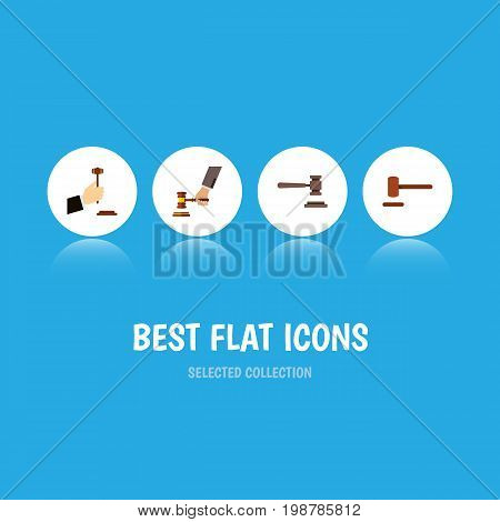 Flat Icon Hammer Set Of Crime, Law, Legal And Other Vector Objects