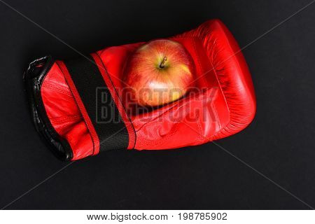 Knock Out And Healthy Nutrition Concept. Pair Of Boxing Sportswear