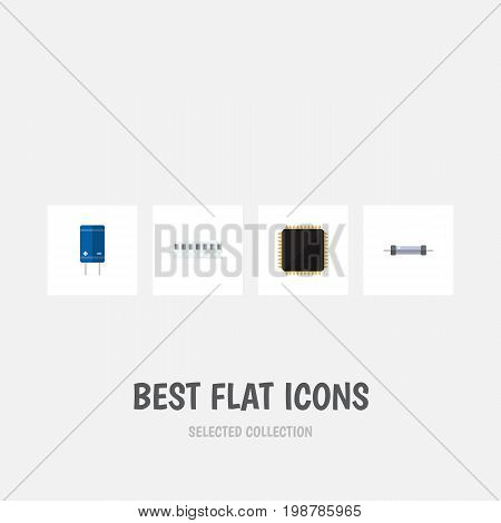Flat Icon Electronics Set Of Cpu, Resistor, Transistor And Other Vector Objects