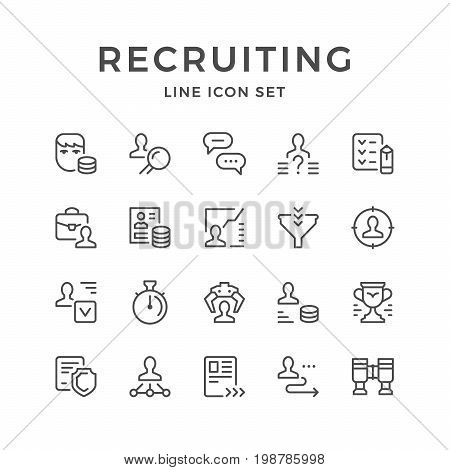 Set line icons of recruiting isolated on white. Vector illustration