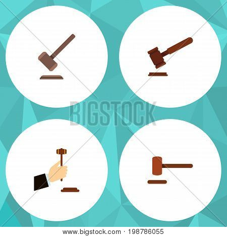 Flat Icon Hammer Set Of Law, Defense, Justice And Other Vector Objects