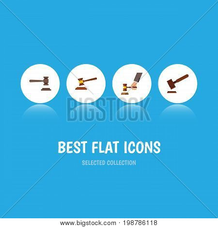 Flat Icon Court Set Of Justice, Legal, Crime And Other Vector Objects