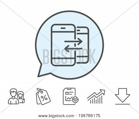 Phone Communication line icon. Incoming and Outgoing call sign. Conversation or SMS symbol. Report, Sale Coupons and Chart line signs. Download, Group icons. Editable stroke. Vector