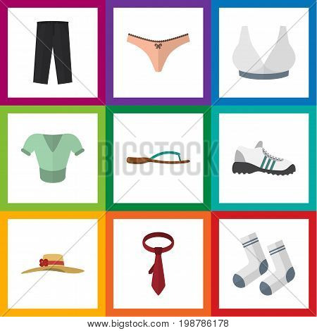 Flat Icon Clothes Set Of Cravat, Lingerie, Sneakers And Other Vector Objects