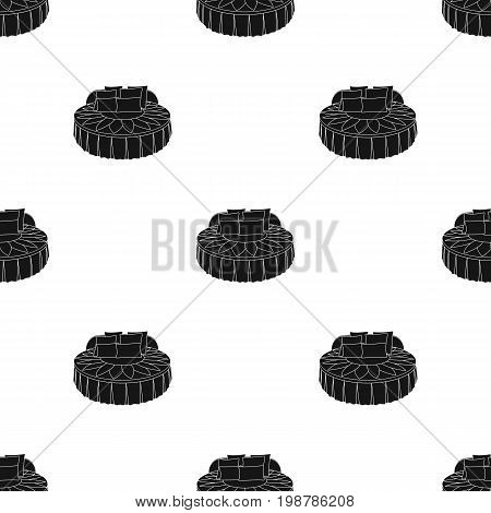 Unusual round bed.Bed with cushions in the form of a yellow flower.Bed single icon in black style vector symbol stock web illustration.