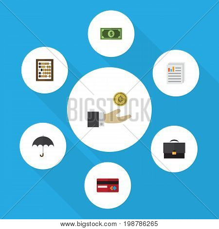 Flat Icon Finance Set Of Counter, Greenback, Document And Other Vector Objects