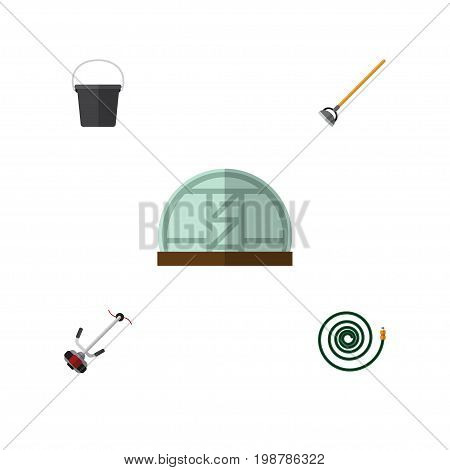 Flat Icon Dacha Set Of Grass-Cutter, Tool, Pail And Other Vector Objects