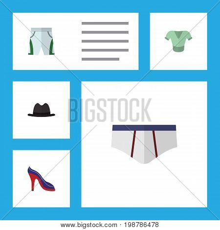 Flat Icon Dress Set Of Underclothes, Heeled Shoe, Trunks Cloth And Other Vector Objects