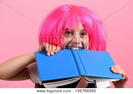 Girl Bites Big Blue Book: Education Concept