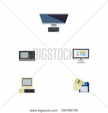 Flat Icon Computer Set Of Display, PC, Computer And Other Vector Objects