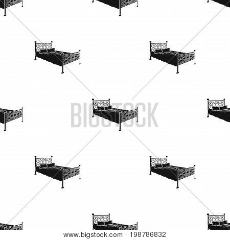 Bed with metal base.Bed with pink bed and forged back.Bed single icon in black style vector symbol stock web illustration.