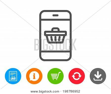 Mobile Shopping cart line icon. Smartphone Online buying sign. Supermarket basket symbol. Report, Information and Refresh line signs. Shopping cart and Download icons. Editable stroke. Vector
